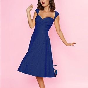 Bettie Paige Queen of Pinups Blue Fit Flare Dress